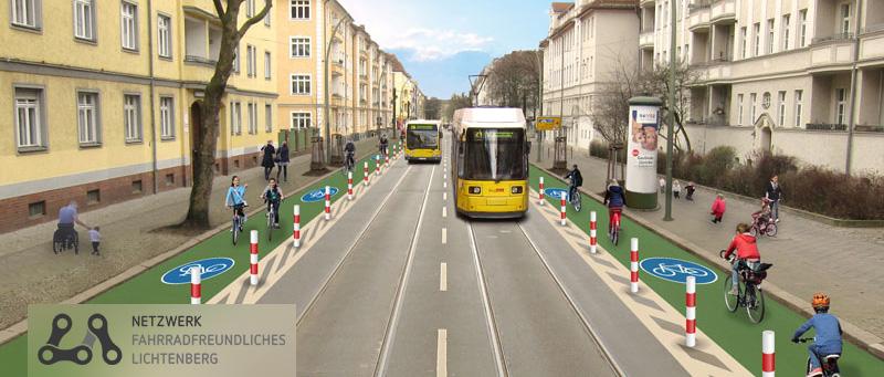 Unsere Vorstellung davon, wie die geschützte Radspur auf der Siegfriedstraße aussehen könnte